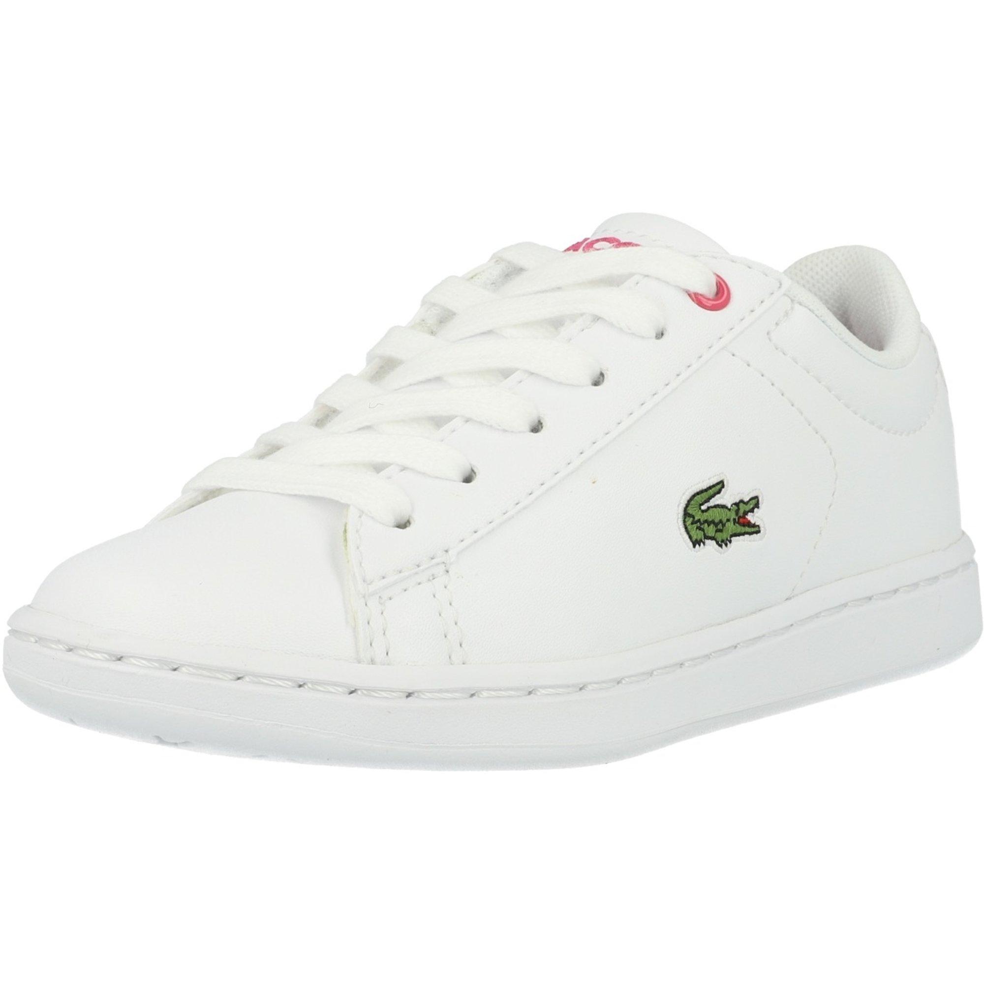 LACOSTE blanc rose Lerond Enfants Filles En Cuir Baskets UK 11 livraison gratuite neuf!!!