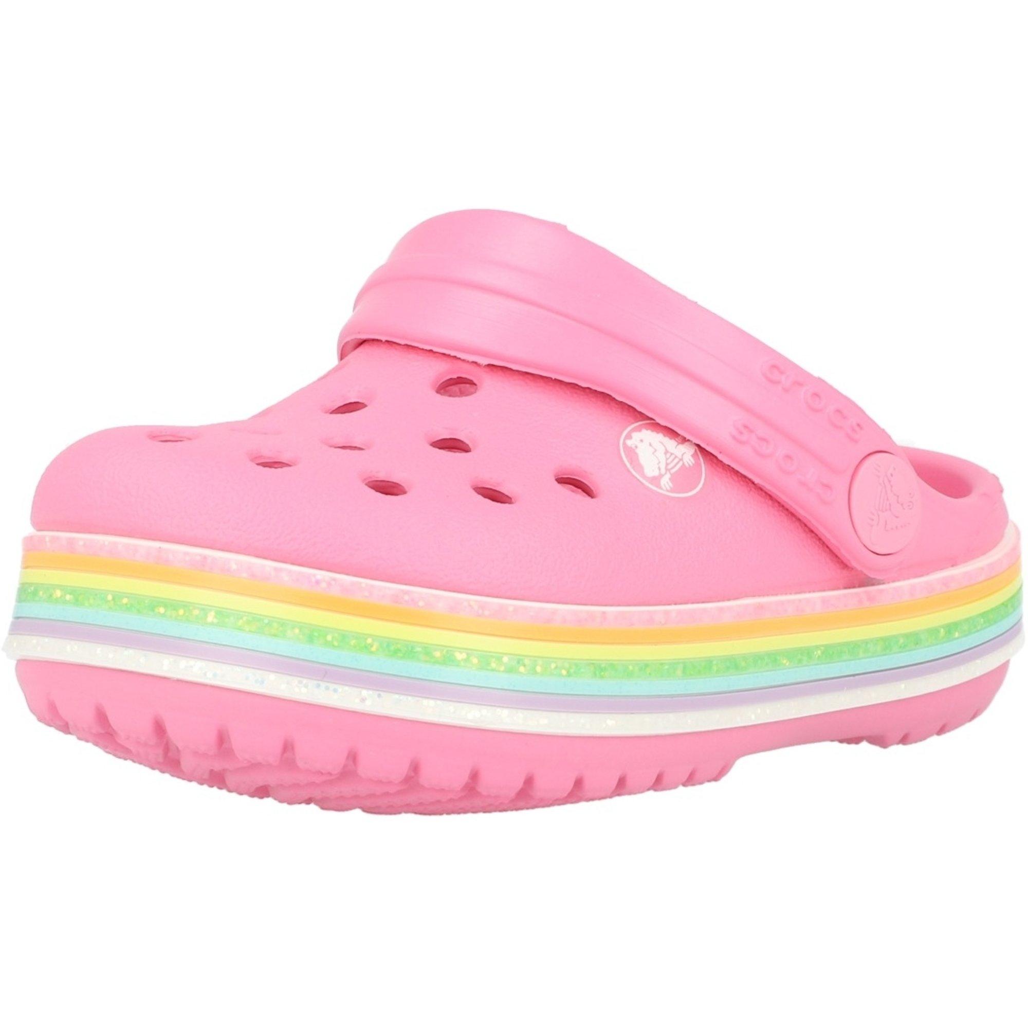 Crocs Kids Crocband Rainbow Glitter Clog Pink Lemonade Croslite