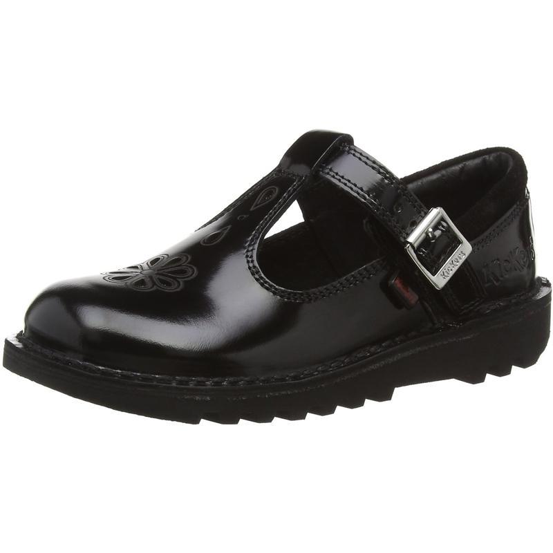 Détails sur Kickers Kick T Suma J Noir Cuir Junior École Chaussures