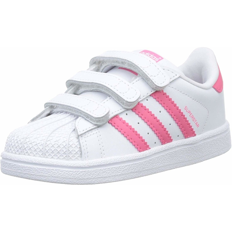 Details about adidas Originals Superstar CF I WhiteReal Pink Leather Infant Trainers Shoes