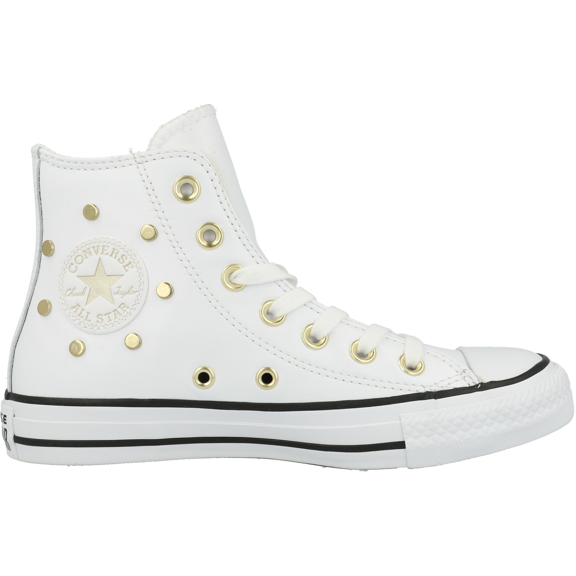 Converse Chuck Taylor All Star Hi Leather Studs White/Black/Light Gold Leather Adult