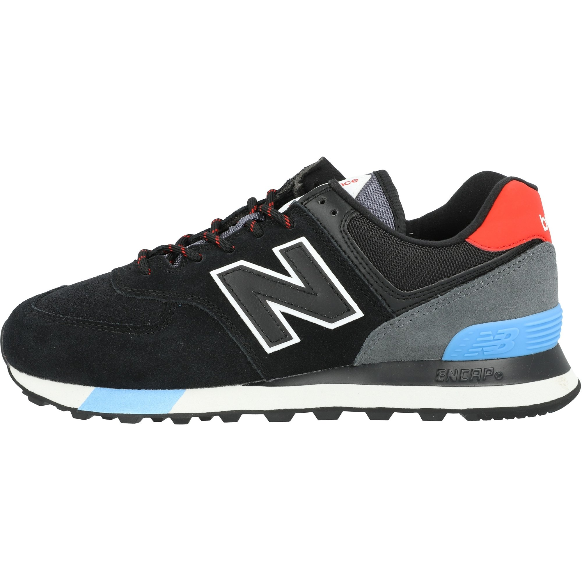 New Balance 574 Black/Velocity Red Suede Adult