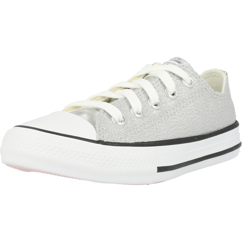 Converse all star white trainers with sparkle silvergold