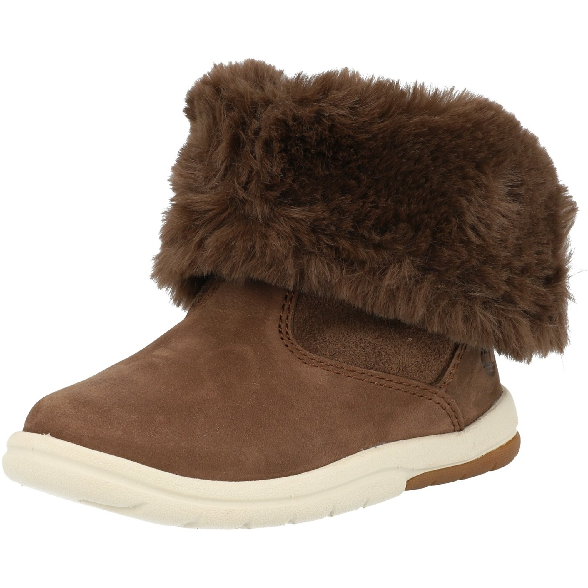 Timberland Toddle Tracks Faux Shearling Bootie Dark Brown Nubuck Infant