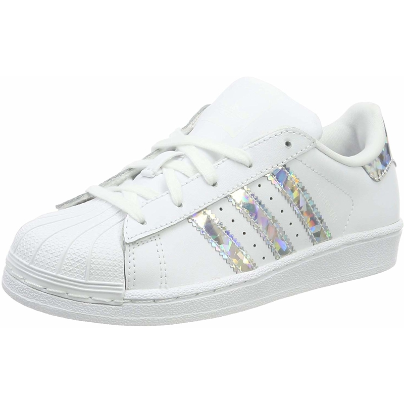 Shine Kids//Juniors White /& Silver Iridescent Adidas Originals Superstar