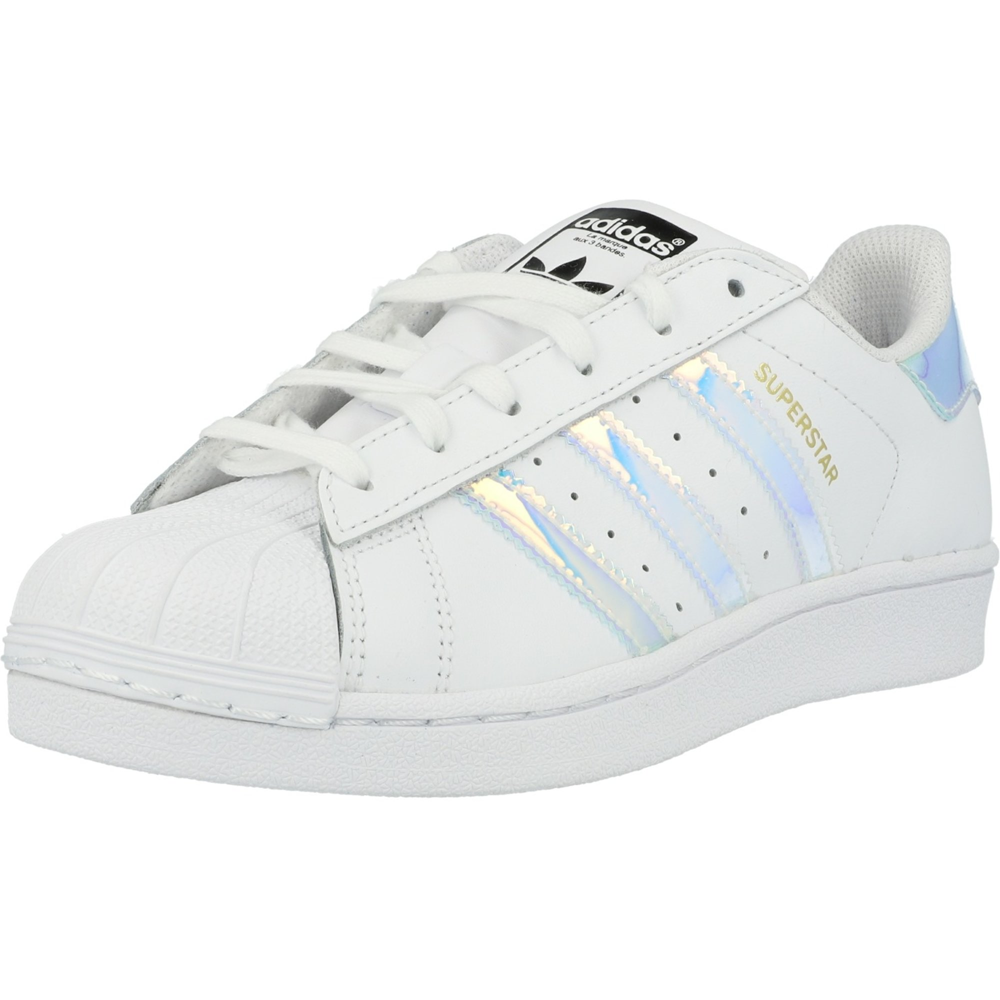 adidas Originals Superstar J White/Iridescent Leather Youth